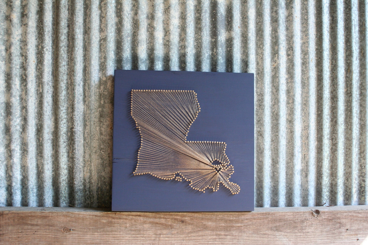 Louisiana Love // Reclaimed Wood Nail and String Art Tribute to The Pelican State