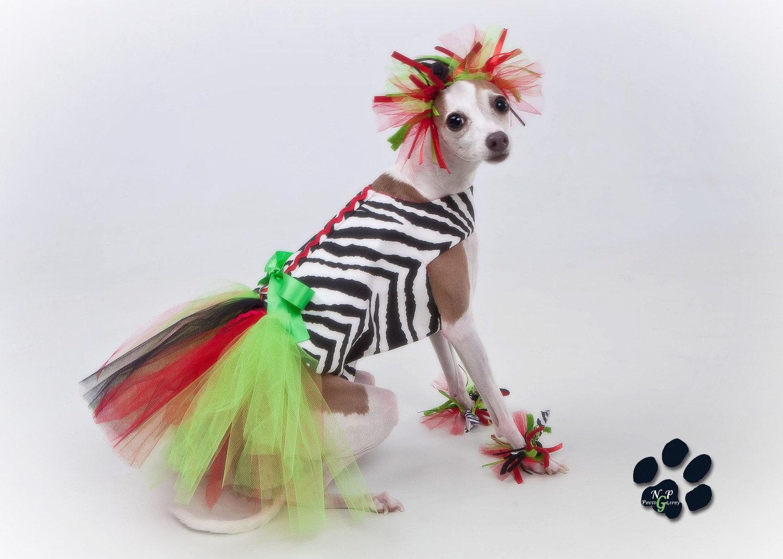 Kwanzaa Туту Harness платье Собака и манжеты Установить