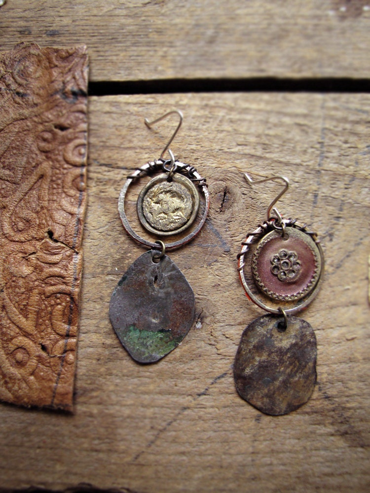 Universal - rustic mismatched earrings - hammered metal - reclaimed vintage - antique buttons - organic jewelry