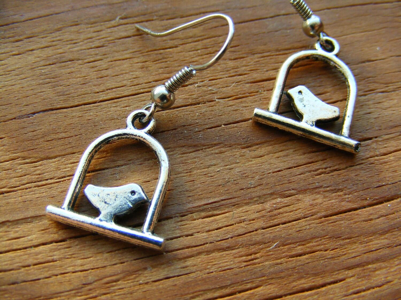 Earrings Silver Swinging Bird