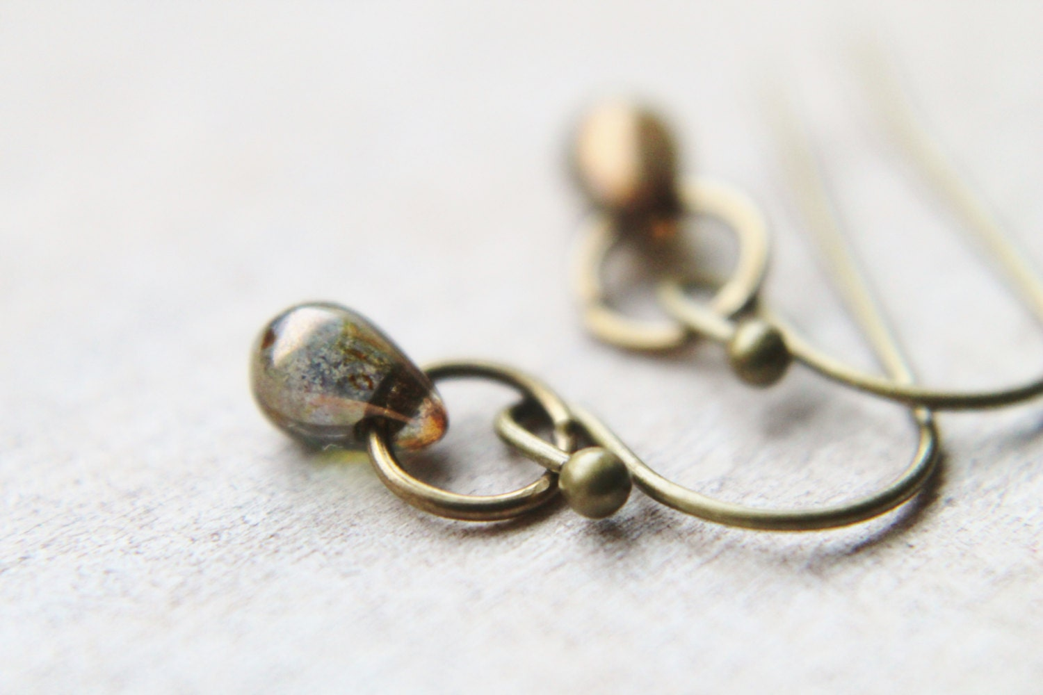 Tiny Coffee Earrings - Custom Petite Czech Glass Modern Drop Handmade Brass Jewelry Gifts for Her.