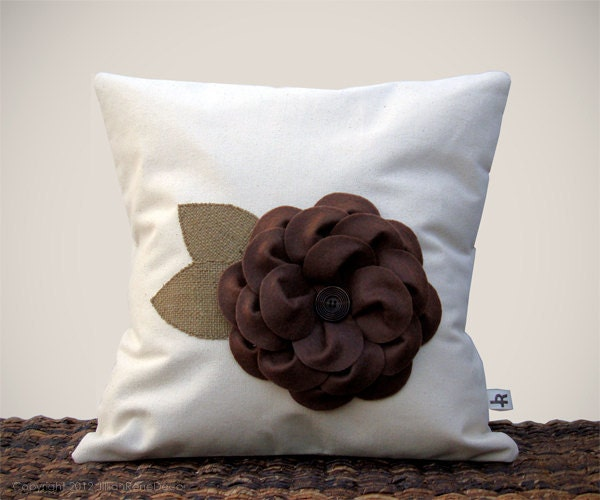 "16"" Cream PILLOW COVER Chocolate Brown Felt Flower Burlap Leaves Cottage Chic Home Decor by JillianReneDecor Gift for Her - JillianReneDecor"
