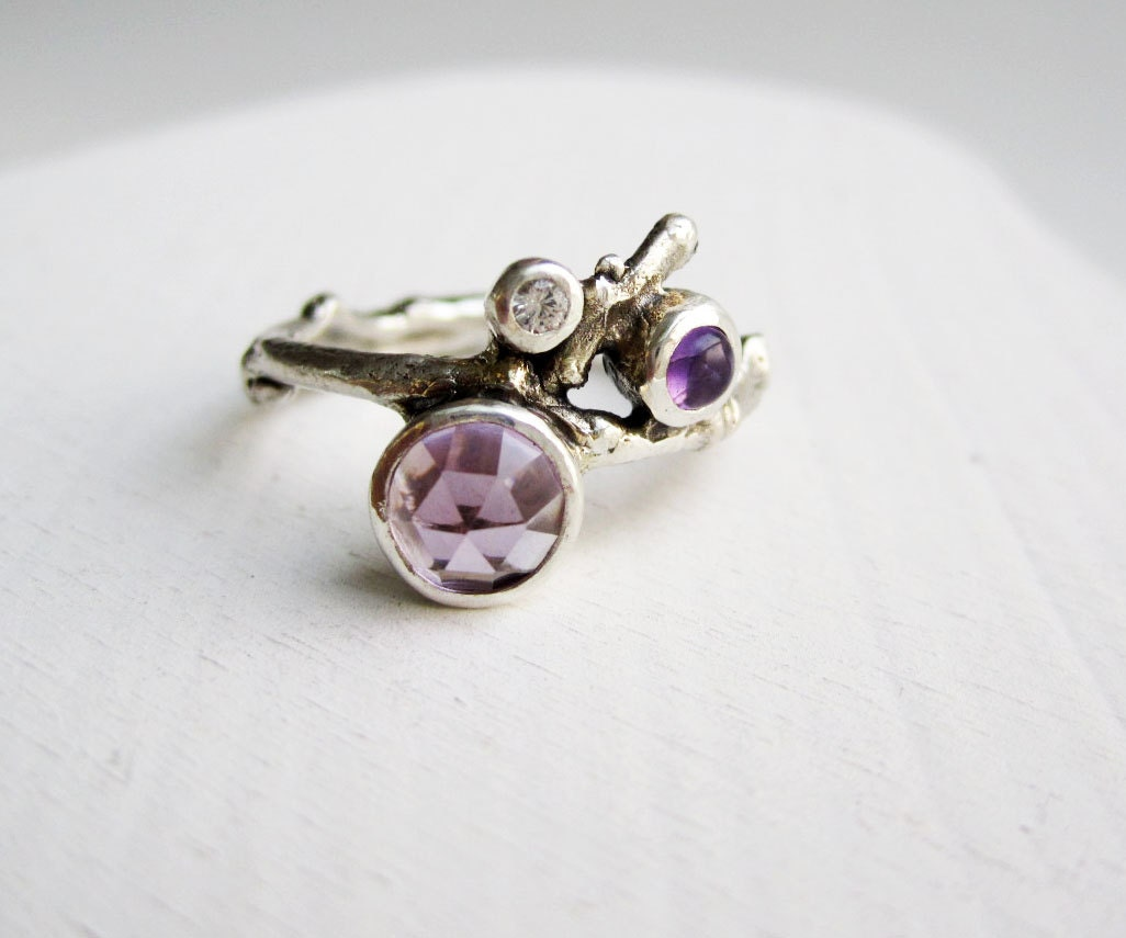 Double Amethyst, White Sapphire Silver Twig Ring - EveryBearJewel