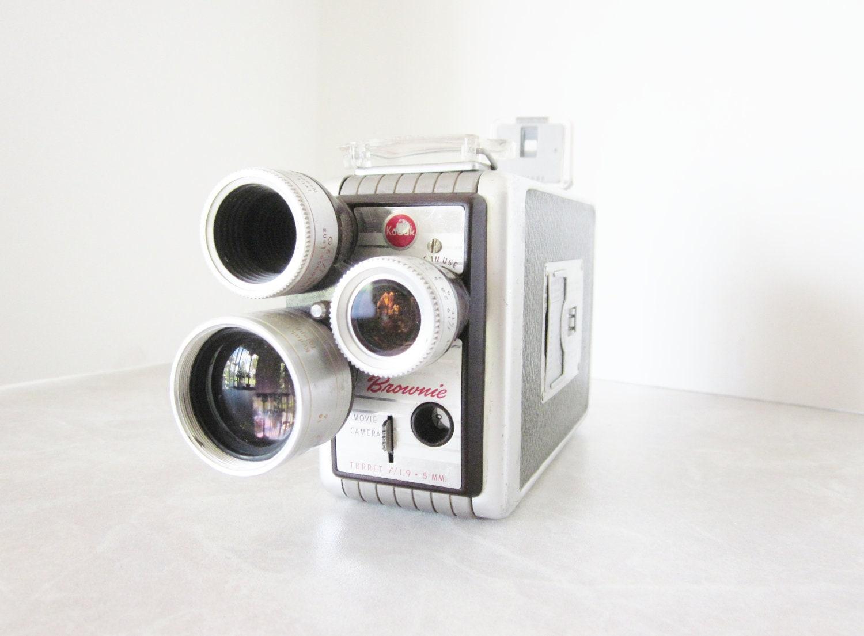 Vintage Kodak Movie Camera Brownie 3 lens Mid Century Electronics Decor - LittleRedPolkaDots