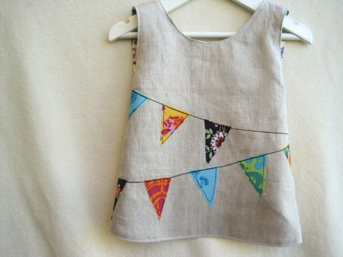 Pure Linen Pinafore. Reversible. Made to Order Size NB - 5/6. Playful, Stylish Bunting Applique with Designer Reverse.