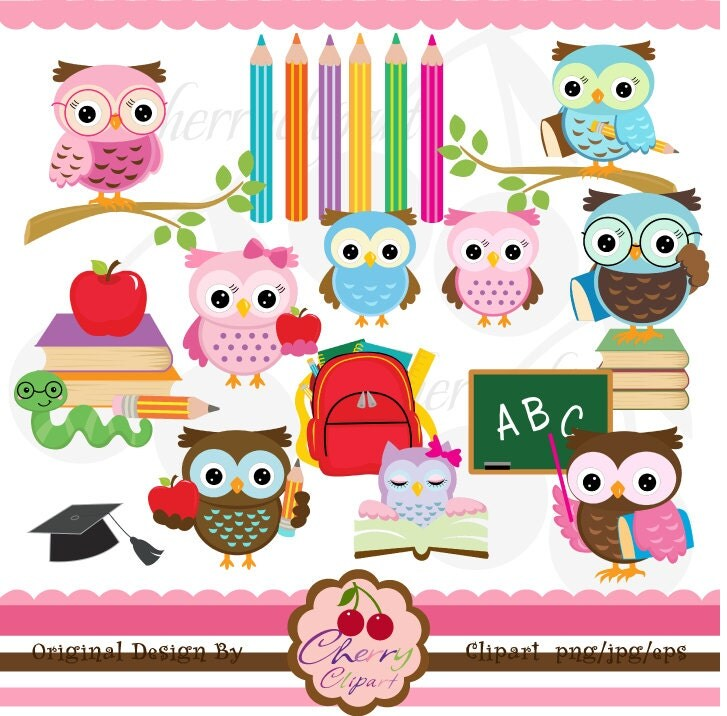 School owls digital clipart set  for -Personal and Commercial Use-paper crafts,card making,scrapbooking,web design