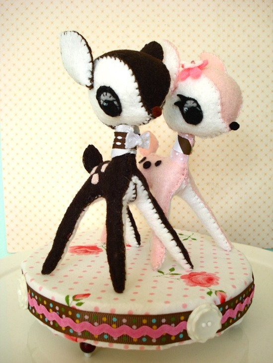 Deer Cake Topper - pink and brown