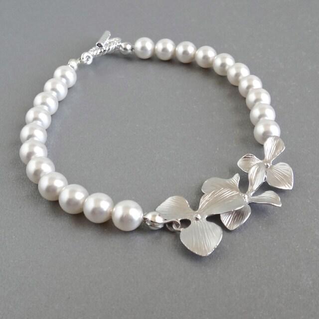 Pearl orchid bridal bracelet