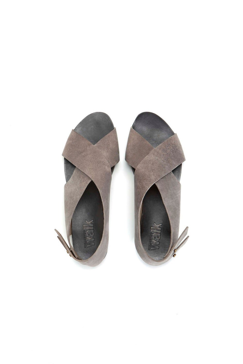Grey crossed womem sandal