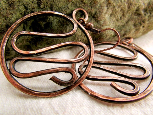 Unique Handmade Jewelry Hammered Copper Jewelry  Antique Copper Jewelry Hammered Copper Earrings Clip On