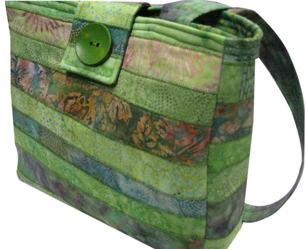 Purse in Green Batiks - Sieberdesigns