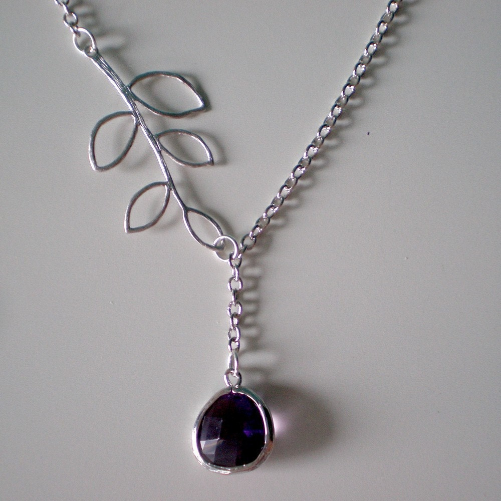 Sterling Silver Necklace -- Delilah -- Silver Leaves with Purple Amethyst Stone Necklace