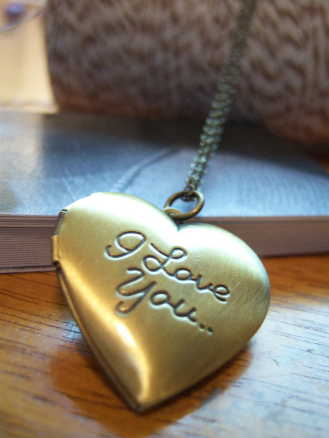 I Love You. Heart Locket. Locket. Brass Locket. Heart Necklace. Locket. Valentine. Love. Heart. Amor. Amore.