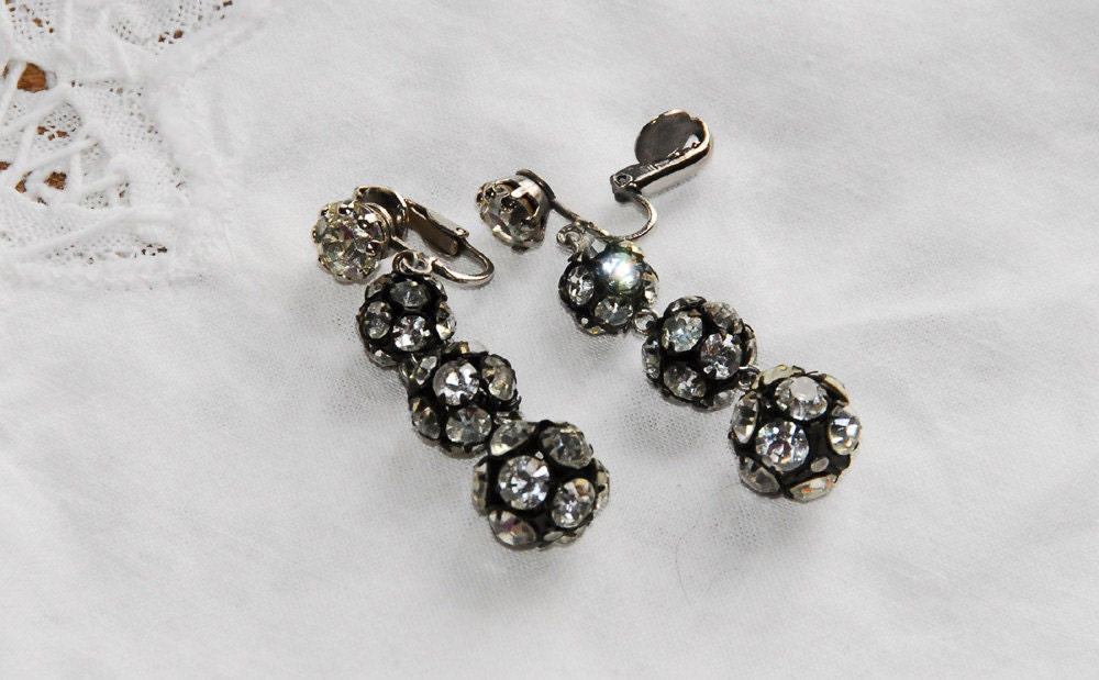 Vintage Rhinestone Earrings Vintage Wedding Winter Wedding Jewelry