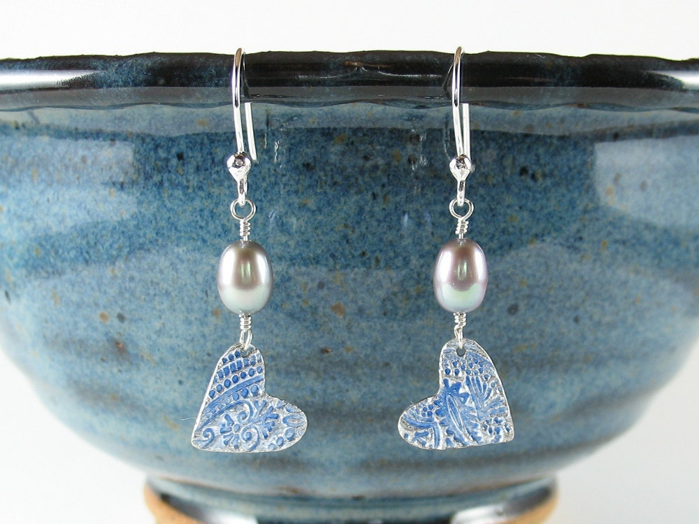 enameled fine silver hearts freshwater pearl earrings