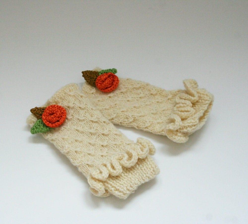 دست زنان کشباف fingerless دستکش و زمستان ، گل ، مد ، سفید