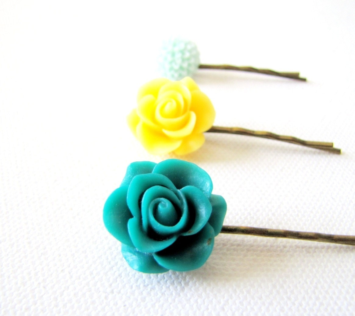 Set of Hairpins Bobbypins Teal and Yellow Hairpins Wedding Accessories Bridesmaids Kids Girls Hairpins - TwigsAndLace