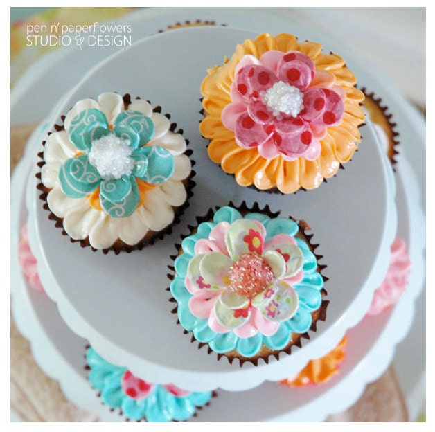 Paper Mache Daisy Cupcake Toppers