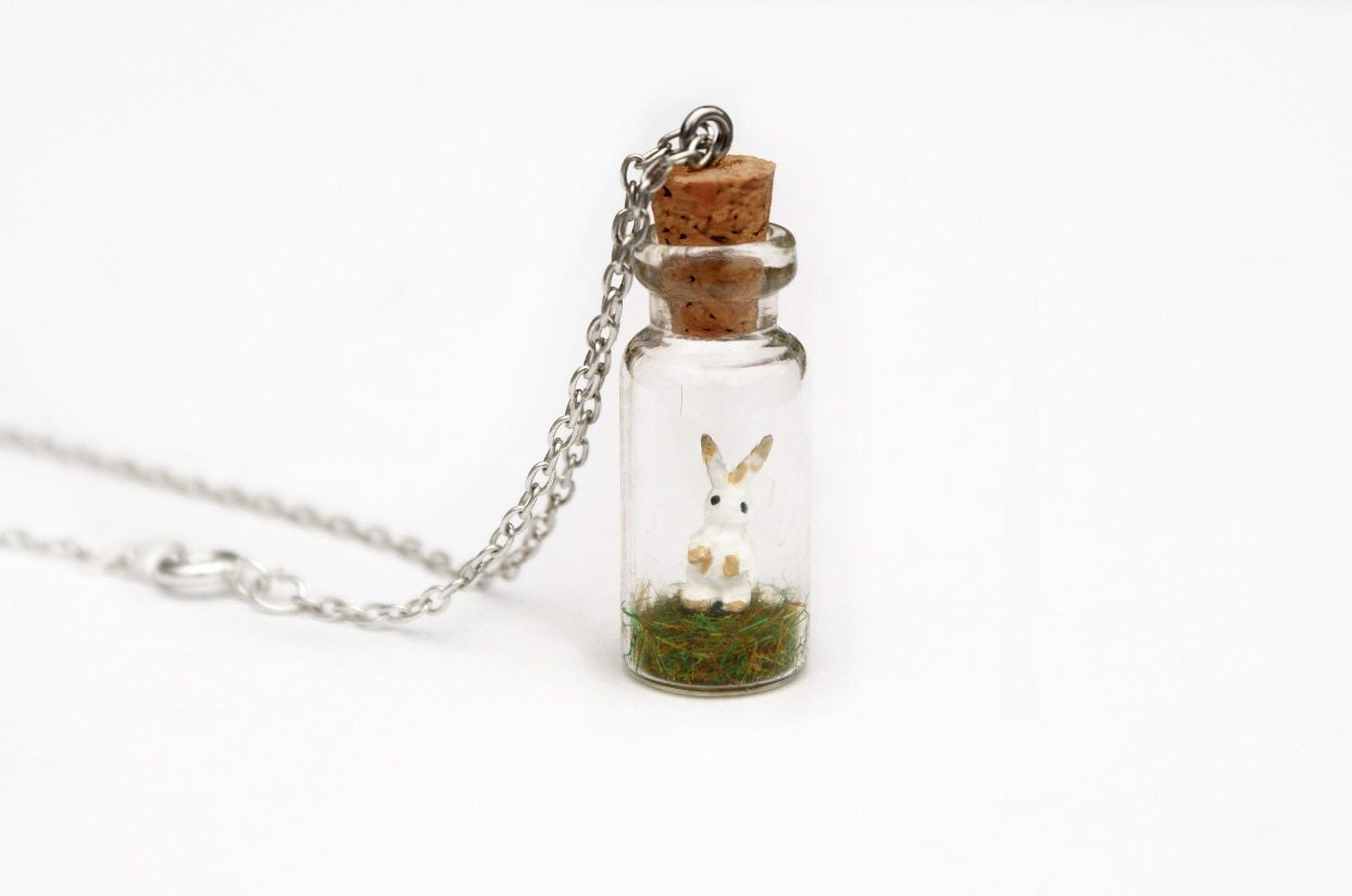 Bunny Rabbit Miniature Jar Necklace - White and Brown Bunny Rabbit Hare, Easter