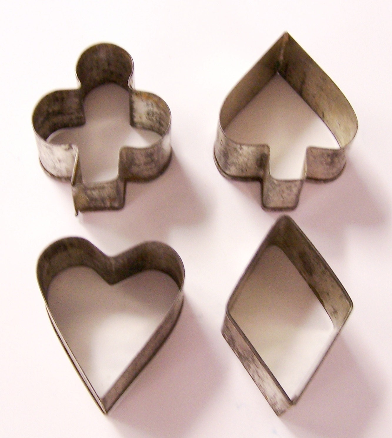 Set of 4 vintage cookie cutters - spade - heart - club - diamond