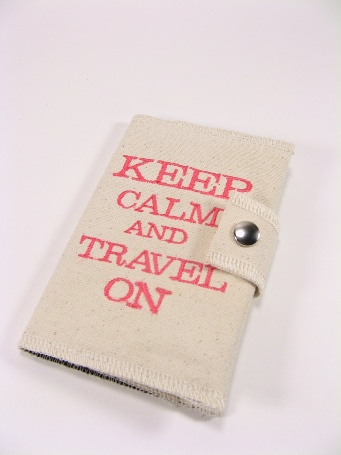 Passport Cover. Canvas. Keep Calm and Travel On in Bright Pink. With Snap