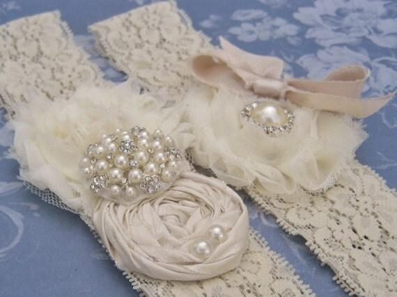 Vintage Bridal Garter Wedding Garter Set Toss Garter included  Ivory with Rhinestones and Pearls  Custom Wedding colors