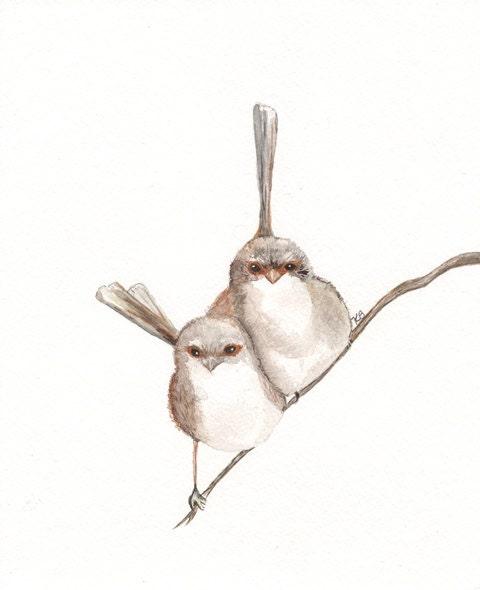 Together/Wren Bird Watercolor print/brown, tan, cream