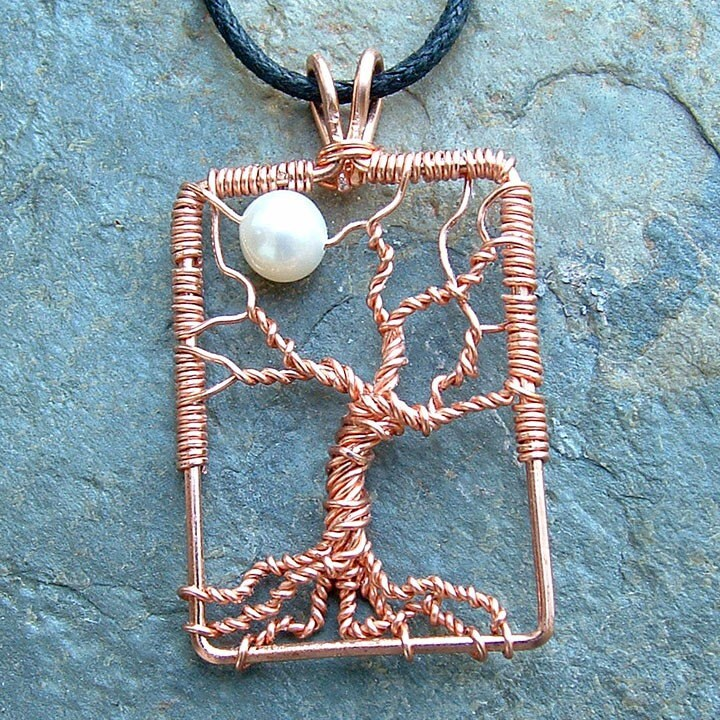 Tree Pendant with Moon Copper Wire Wrap Tree White Pearl Moon - organic, woodland - ArtistiKat