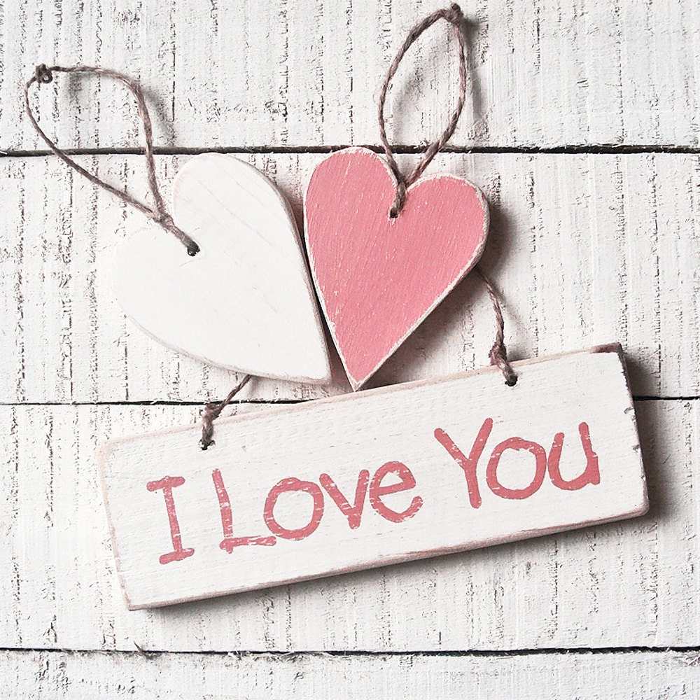 Love Wedding Sign And Hearts . I Love You Wooden Sign And Two Hearts Set.