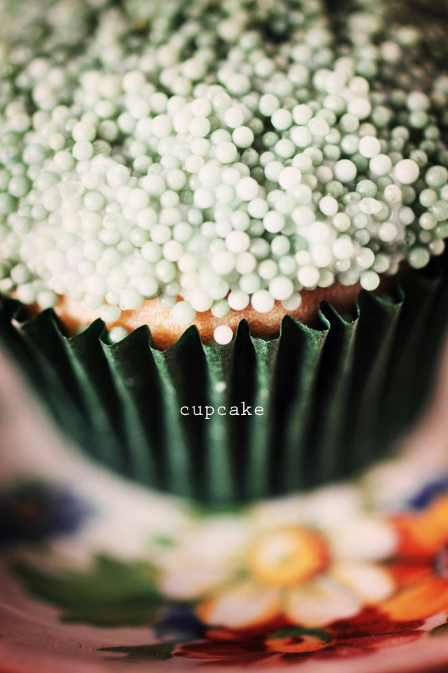 Cupcake. 5 x 7 Print. Vintage, Green, Sprinkles, Vert, Cake, Cupcake, Kitchen Art - PhotographyByAnita
