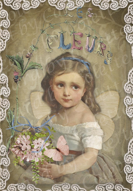 Little Fleur Digital Collage Greeting Card