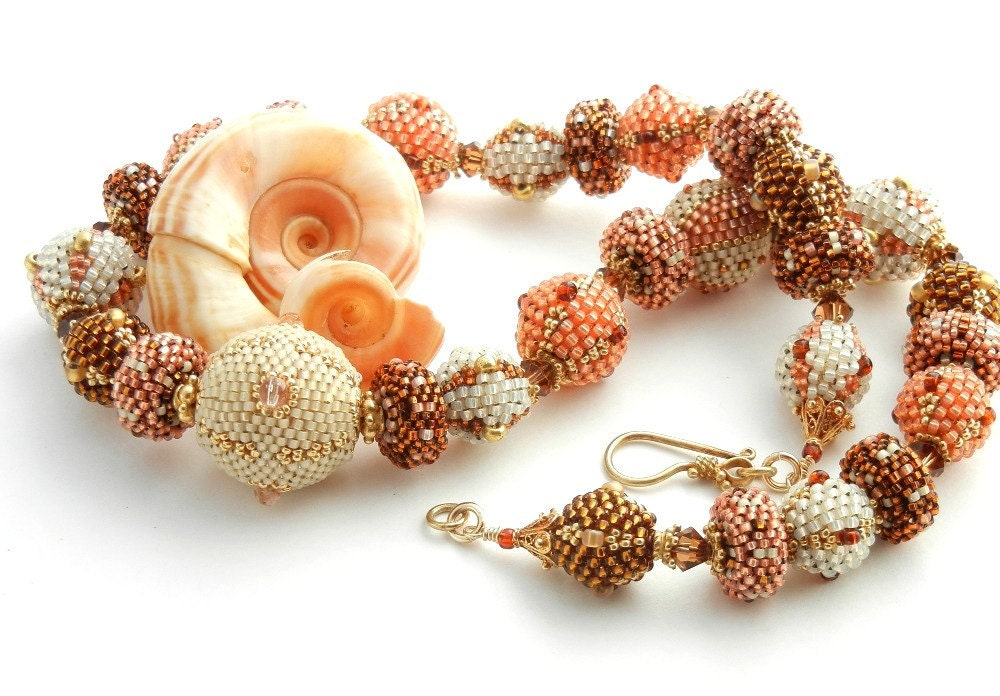 Beaded Bead Necklace - Colors of Summer - by Sharri Moroshok on etsy - peach orange copper amber white cream - TheBeadedBead