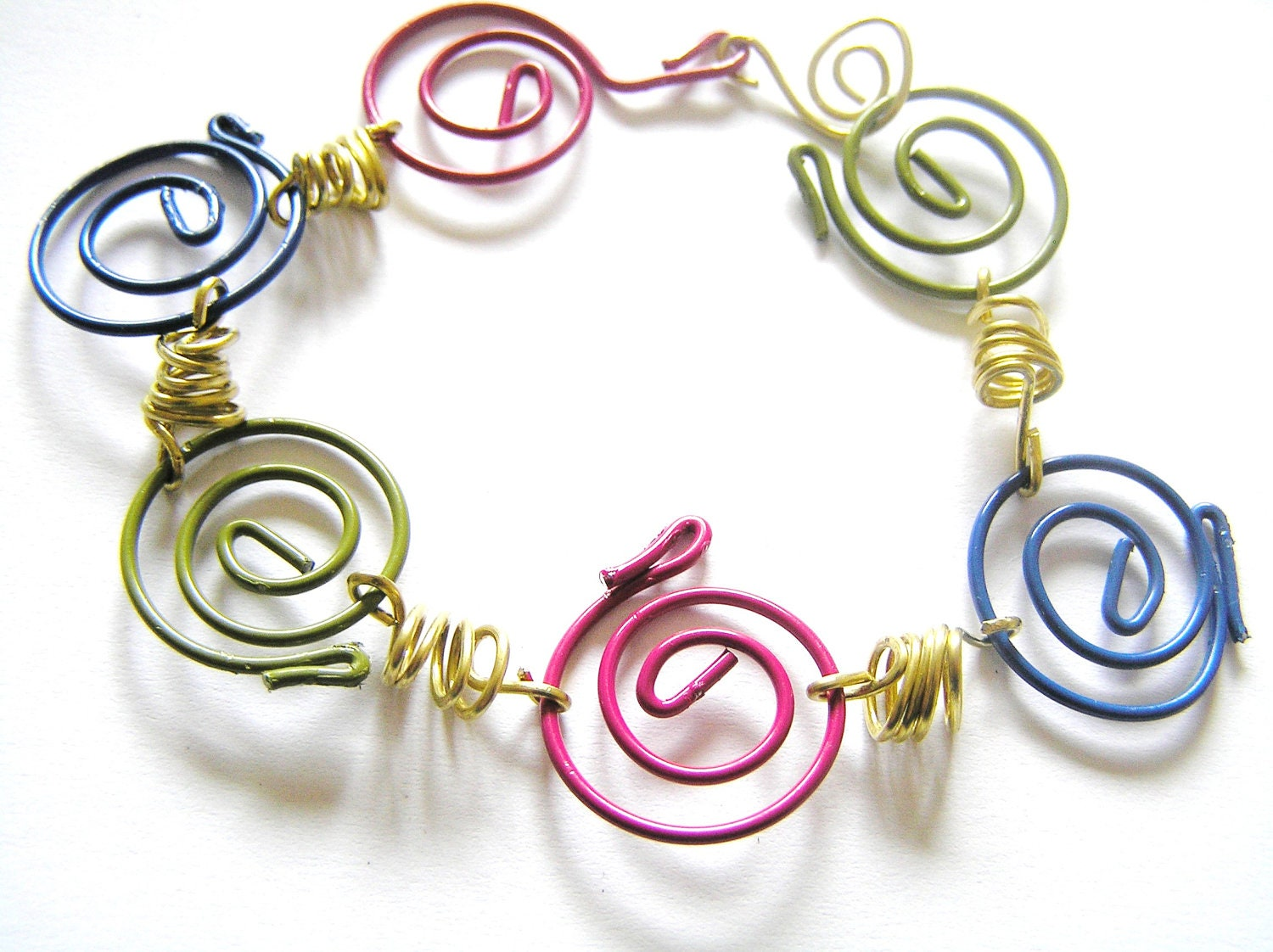 Spiral Paper Clip Bracelet w Brass Springs- Blue, Olive Green, Dark Hot Pink