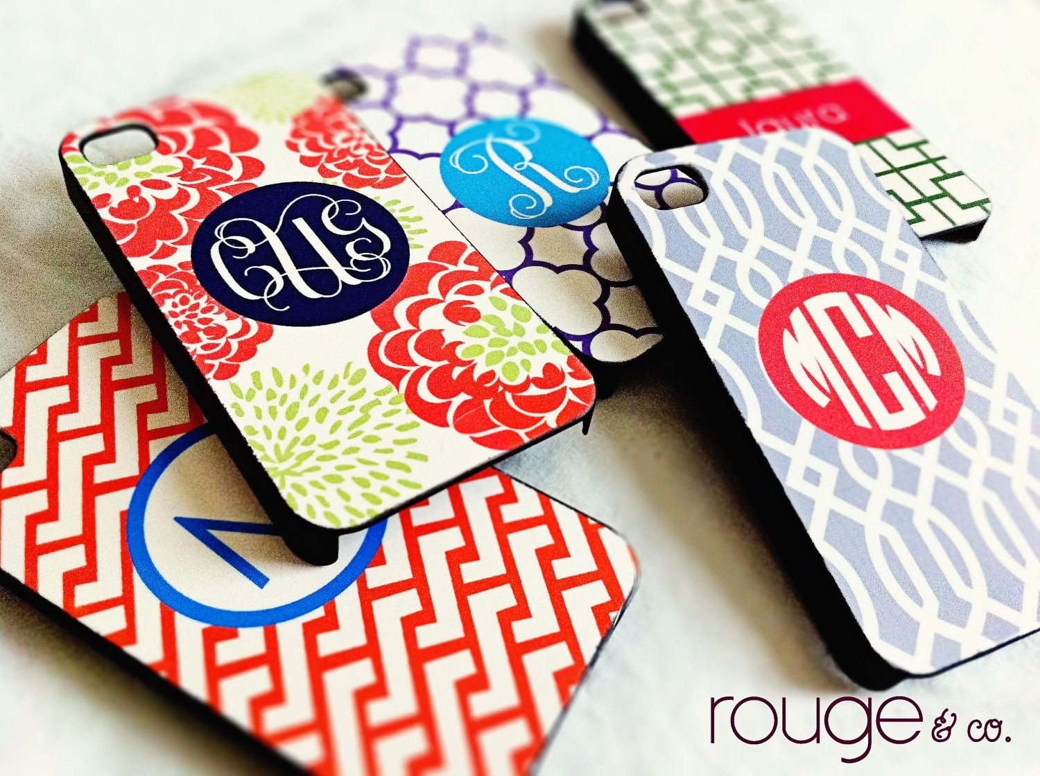 iPhone4/4S or GalaxyS2 cover - trellis pattern on right in custom colors with monogram or name