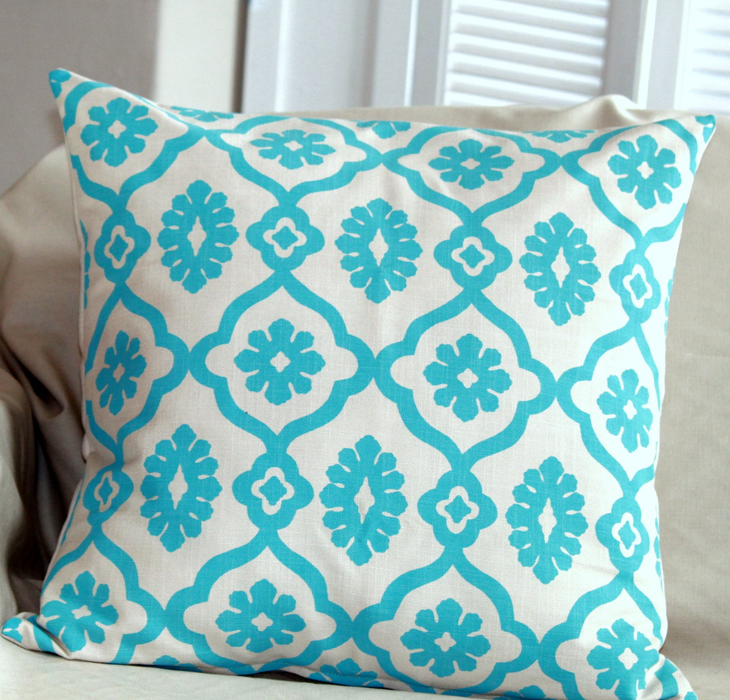 Lattice - Teal on Stone - Scatter Cushion 60x60cm