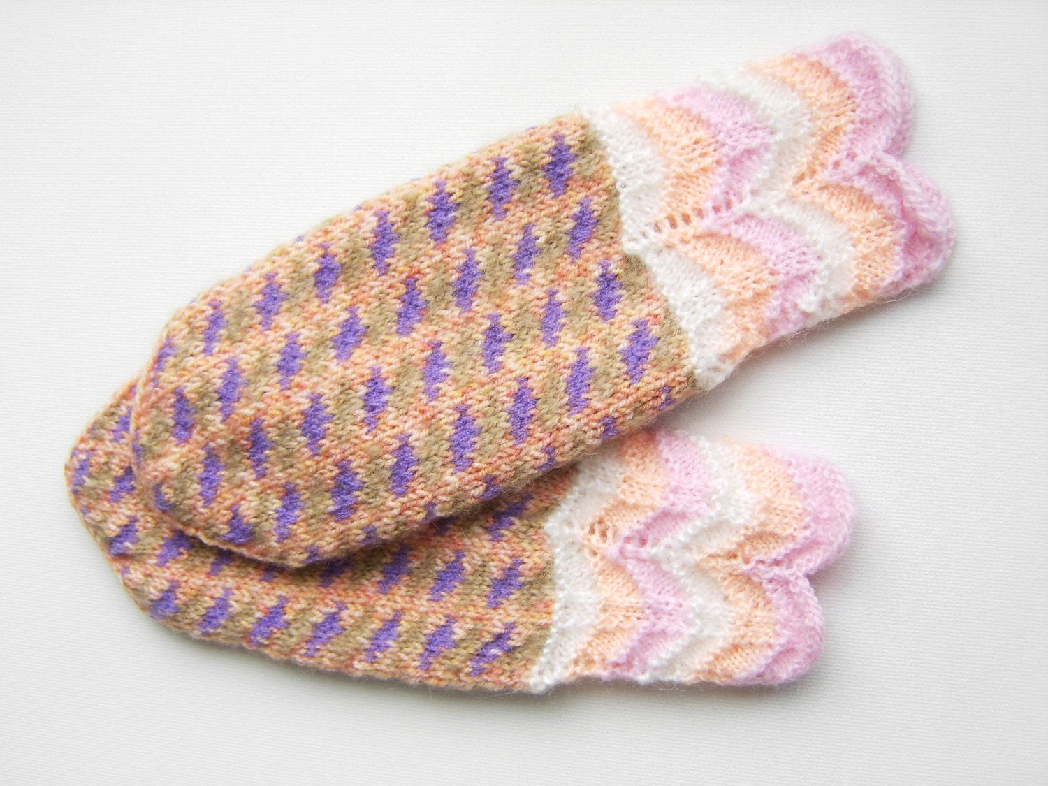 Hand Knitted Mittens - Pink, Peach and Lilac - UnlimitedCraftworks