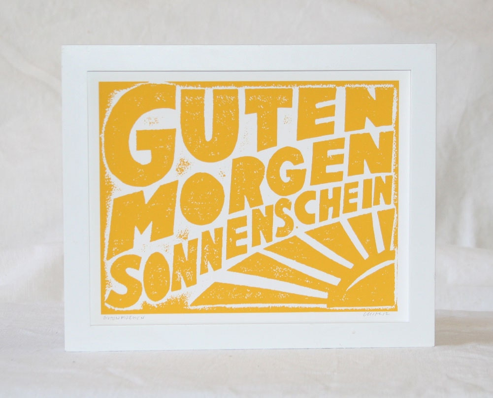 Guten Morgen Sonnenschein German Good Morning Sunshine Typography Kitchen Art Print  Baby Nursery Decor