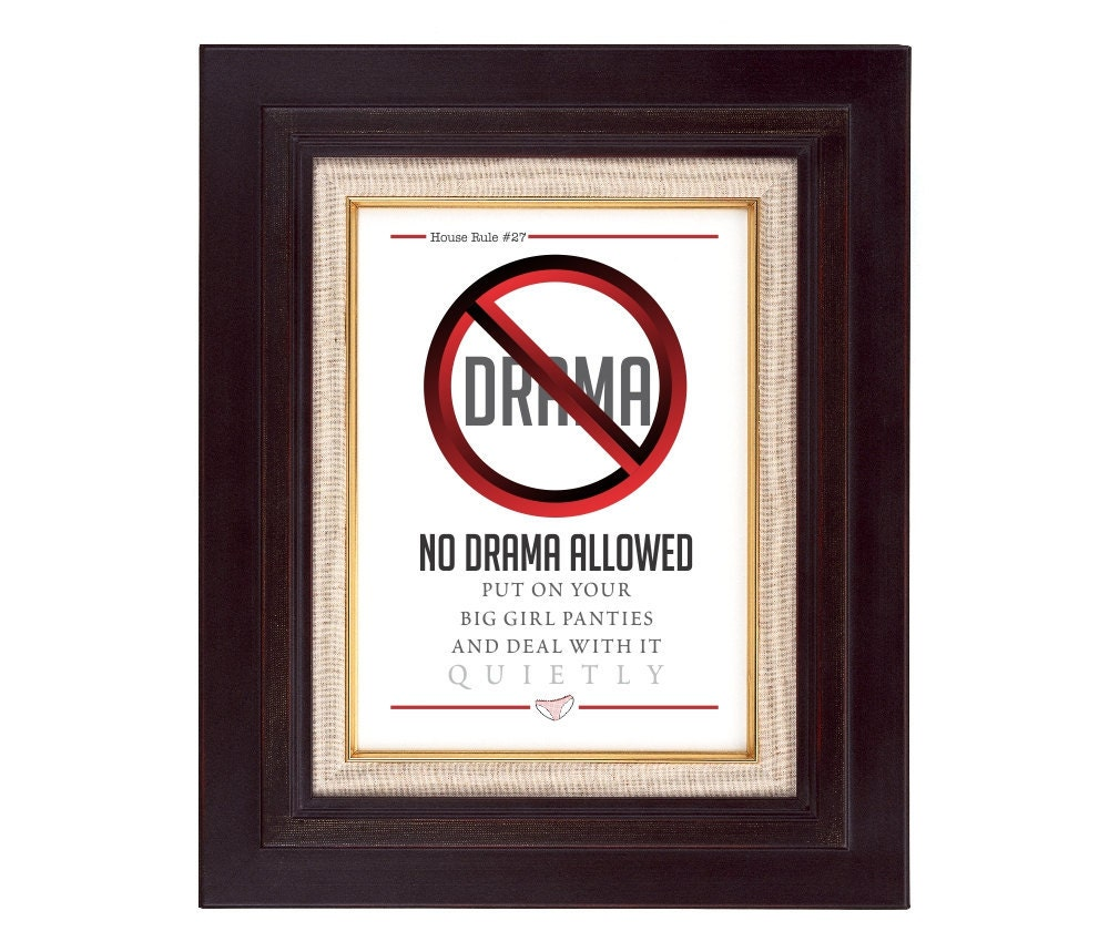PIY No Drama Allowed - House Rule No. 27  5x7 Printable Gift or Wall Art