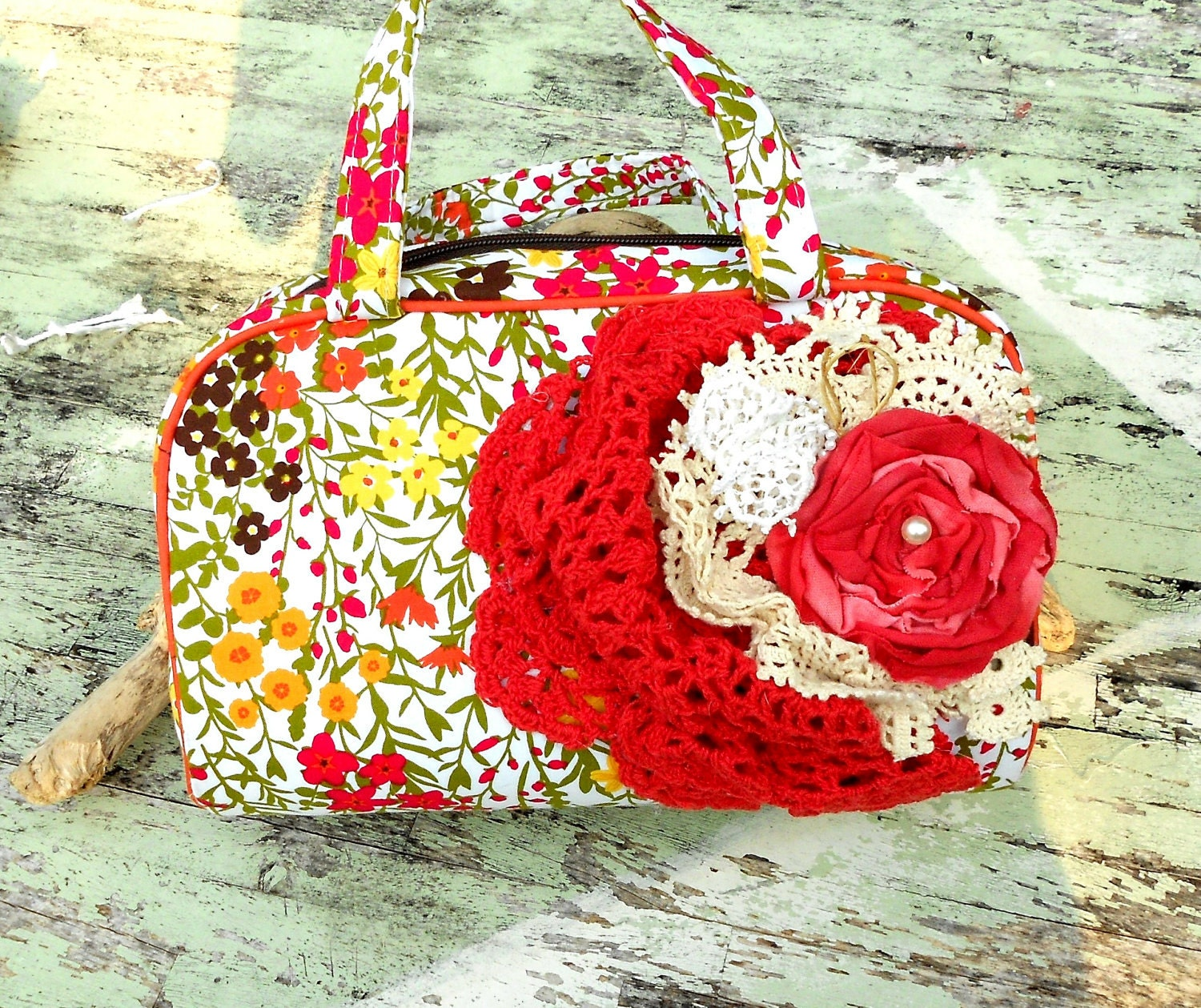 Romantic Shabby chic Embellished handbag Clutch Purse fabric rose