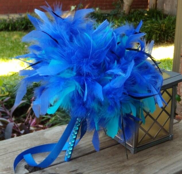 Feather Bridesmaid Bouquets - Tim Burton Alice in Wonderland Wedding - Malibu & Horizon Blue Turquoise Black Wedding - Custom Bouquet Colors