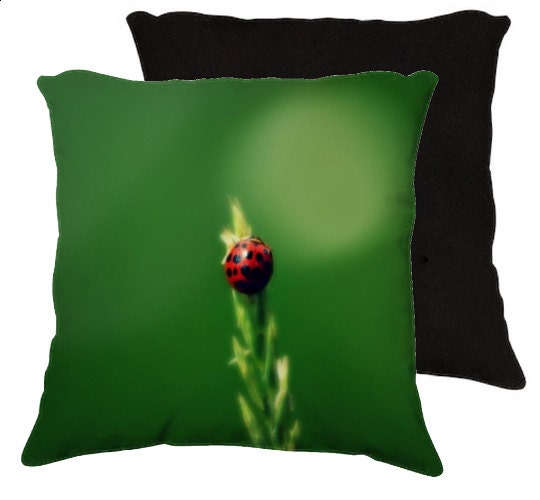 Ladybug Hugs Art Photography Pillow nature green home by RDelean