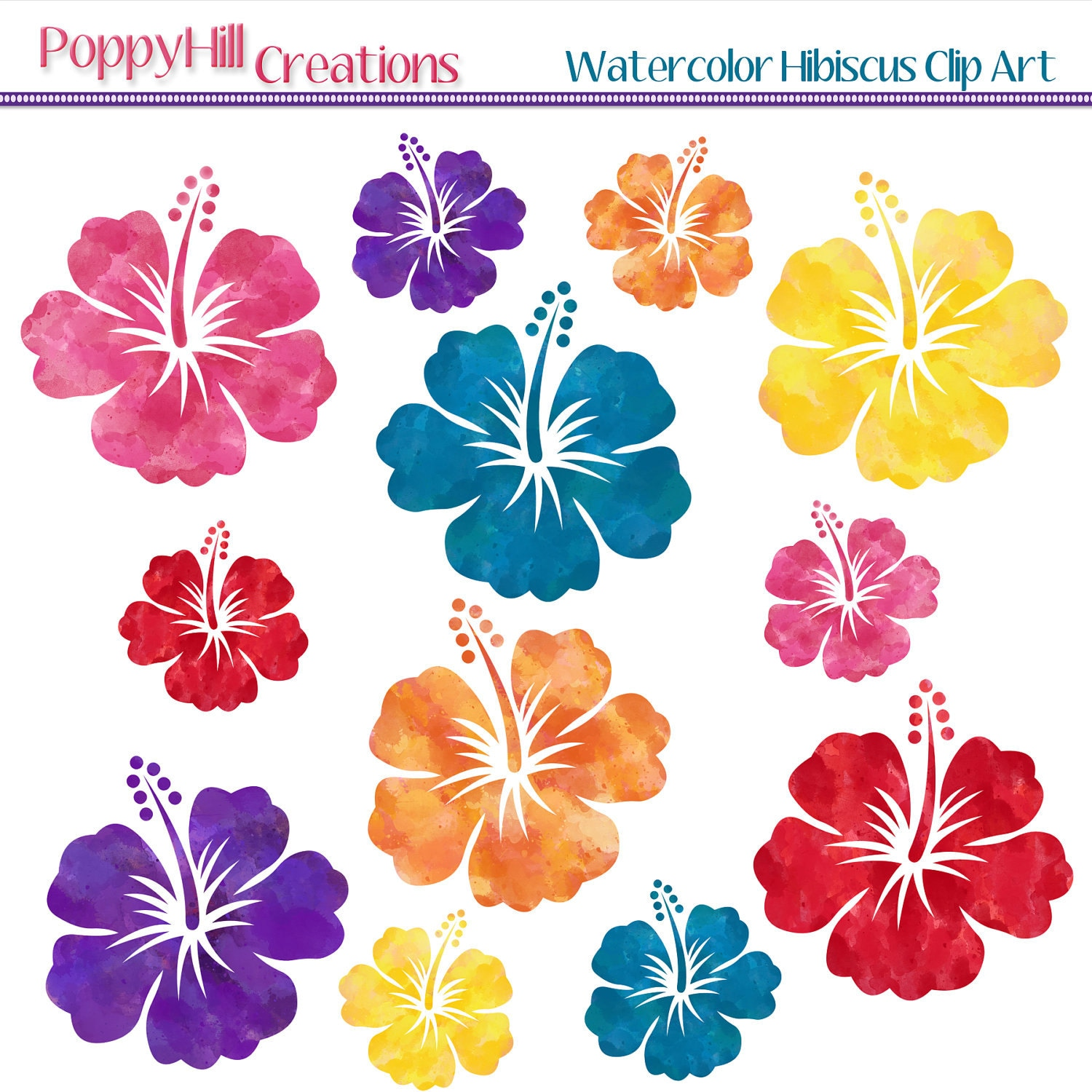 Watercolor Hibiscus Digital Clip Art - Red, Yellow, Orange, Pink, Purple, Teal - For Personal and Commercial Use - Digital Designs