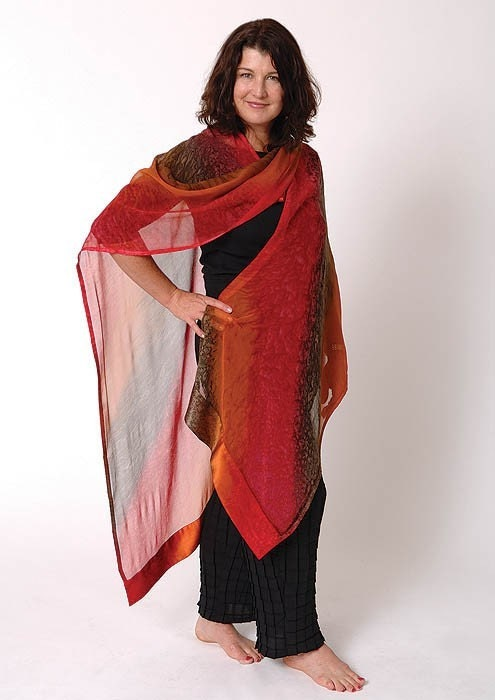 EMBER Hand Painted Silk Ruana Deep Red, Warm Brown,  Sienna - Made to Order - Joyflower