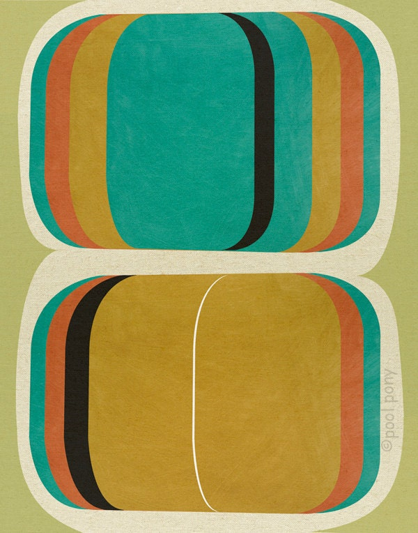 mid century design art print, go set, LARGE