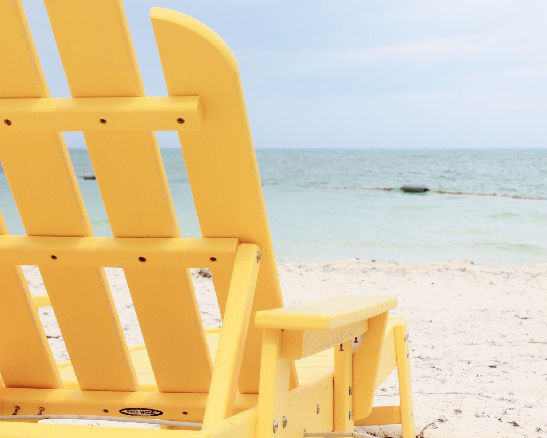 Large Beach Photography, Neon Yellow, Ombre Blue, Ocean Photos, Nautical Decor, Resort, Tropical - LongForgotten