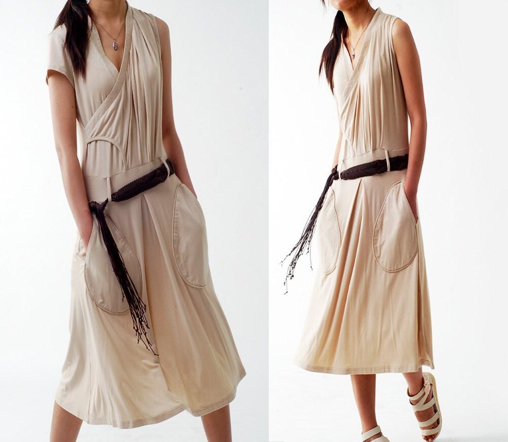 TEARs - asymmetrical jersey zen dress (Q1211) - idea2lifestyle