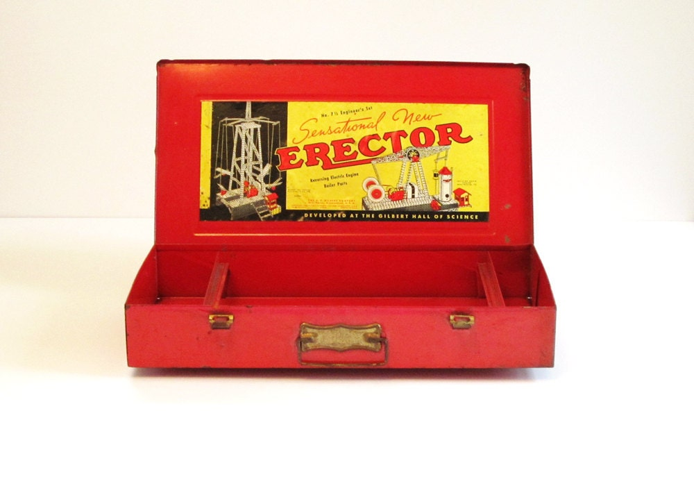 1938 Erector Set Metal Case 7 1/2 Engineer's Set - lakesidecottage