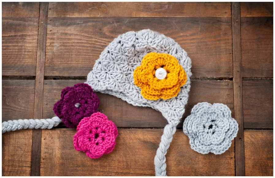 SALE 3 pack of Crochet Flowers to go on Embellished Hat for Babies Children and Adults