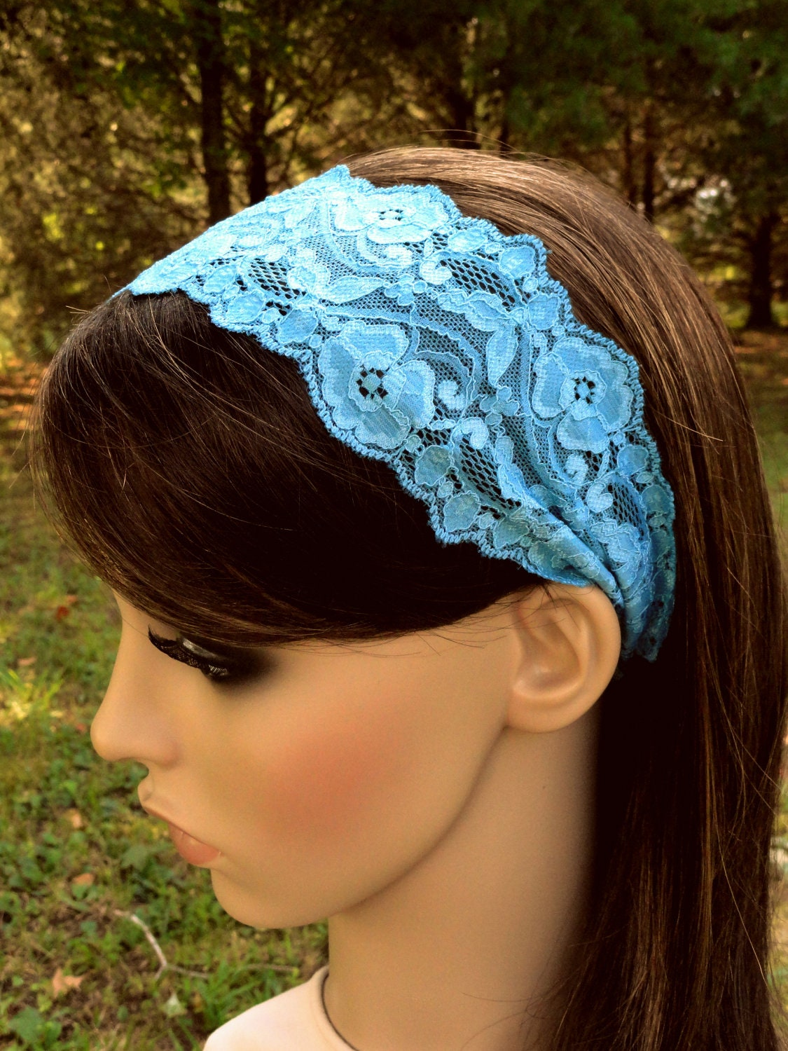 Head band Sapphire Blue Stretch Lace Headband Hair Band Head Wrap Scarf Covering Headcovering