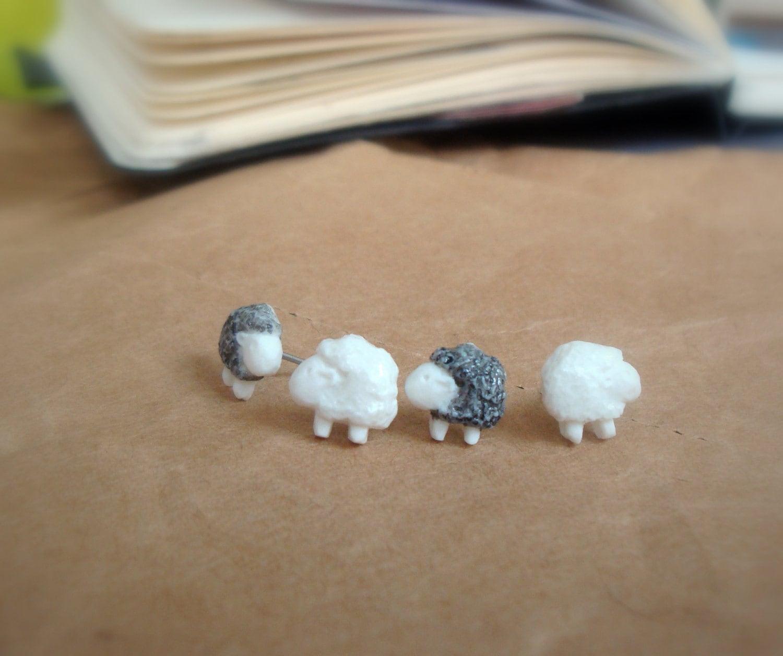 earring studs - Sheep in porcelain - TwoTreesWorld